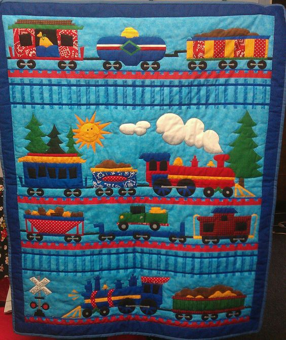 Hand quilted baby boy train quilt quilts fabrics for Fabric with trains pattern