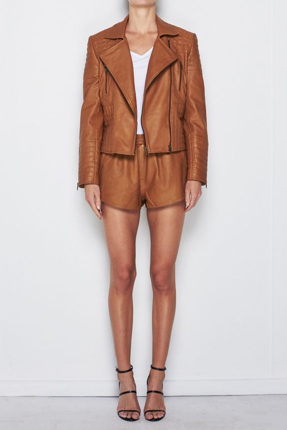 Leather Jacket in Camel // Worn with Team Leather Shorts #mlmlabel #leatherjacket #winter #camel