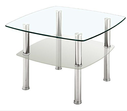Fineboard Glass Coffee Table Side Table 2 Tier Glass Top And Silver Metal Legs Gray Want To Know More Living Room Table Sets Sofa Side Table Coffee Table