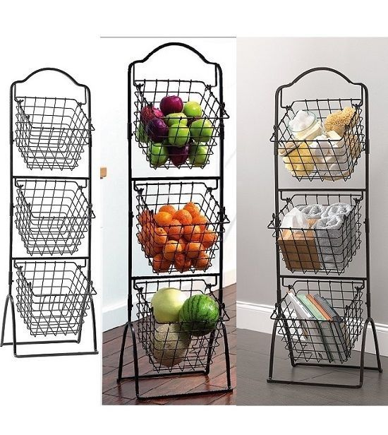 Fruit Metal Stand Vegetable Bath Storage Baskets 3 Tier Rack Wire Kitchen Black Unbranded Kitchen Basket Storage Kitchen Baskets Vegetable Rack