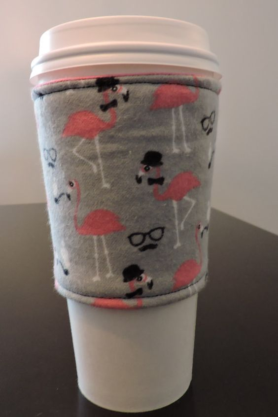 adorable flamingo cup sleeve