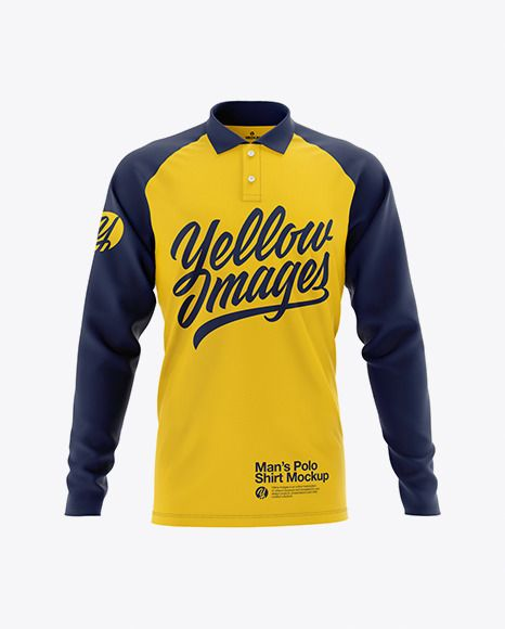 Download Men S Raglan Long Sleeve Polo Shirt Mockup Front View In Apparel Mockups On Yellow Images Object Mockups Long Sleeve Polo Shirt Shirt Mockup Long Sleeve Polo