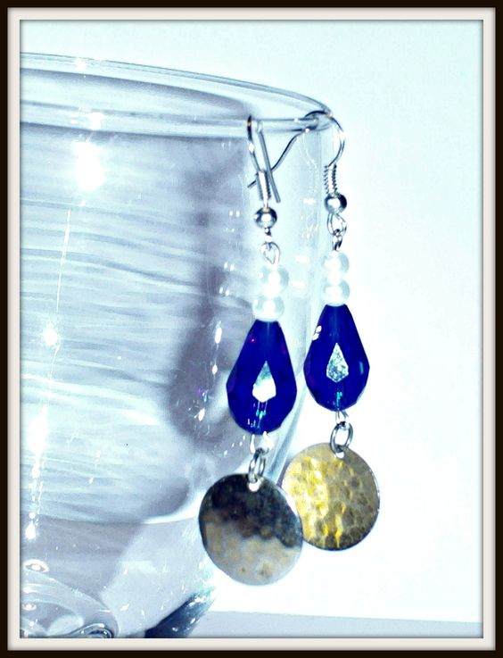 """""""Destiny"""" Earrings with pearl glass beads white,blue crystal gems and gold colored hammered metal $3.00"""