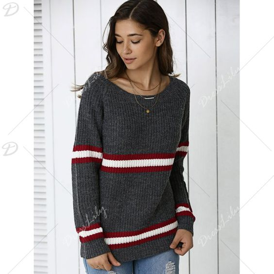 Striped Hit Color Pullover Sweater, DEEP GRAY, ONE SIZE in Sweaters & Cardigans | DressLily.com