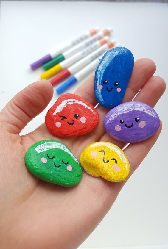 Bright And Simple Rock Painting Idea Good Idea For Painting With