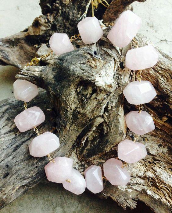 maxi collar de quars rosa