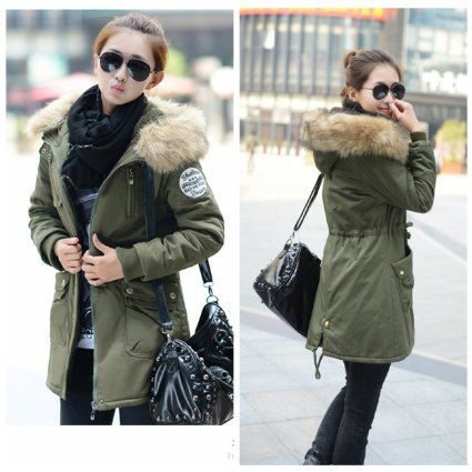 manteau femme parka militaire veste long blouson coton. Black Bedroom Furniture Sets. Home Design Ideas