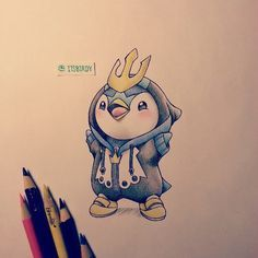 Pokemon - Piplup dressed as Empoleon ฅ(๑*д*๑)ฅ!! I kind of want this as a tattoo!