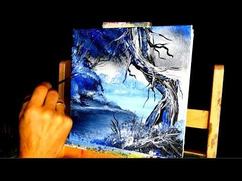 Simple Trees And Landscape Painting Only 3 Acrylic Colors Blue Black White You Can Do Landscape Paintings Landscape Paintings Acrylic Abstract Painting