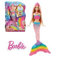 Poupée Barbie sirène avec lumière arc-en-ciel 33cm