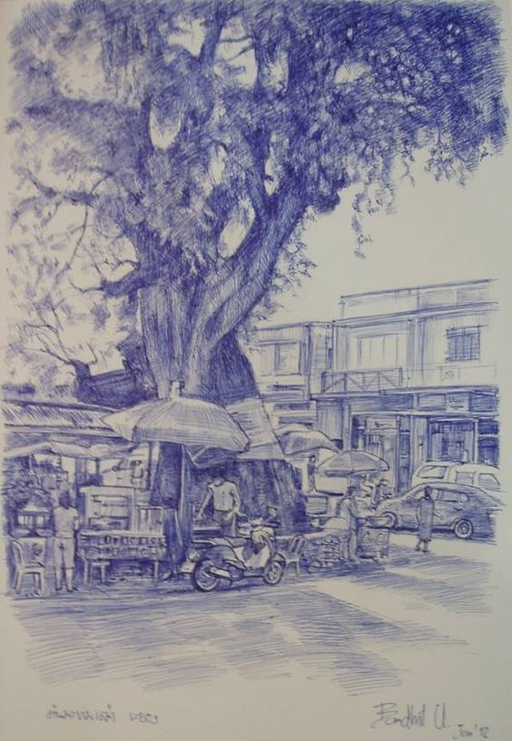 """Old tamarind tree, Rayong, Thailand.Size: 7.5"""" x 11"""".Ballpoint pen on paper. (Sold)."""