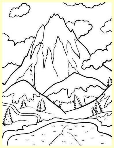 Pagina Para Colorear De Montanas Nevadas Montagnes Enneigees Colorant Le Cote Bizar Dibujos Para Colorear Paisajes Paisaje Para Colorear Paisajes Dibujos