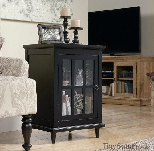 End Table Curio Cabinet Accent Furniture Glass Door Nightstand