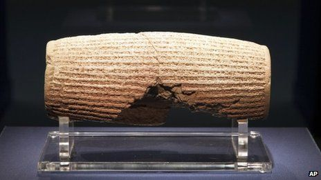 The Cyrus Cylinder, considered to be the first example of human rights law, written in cuneiform in Persia in 539 B.C. under the rule of King Cyrus of Babylon. This code promoted the free practice of religion & the release of prisoner's of war.