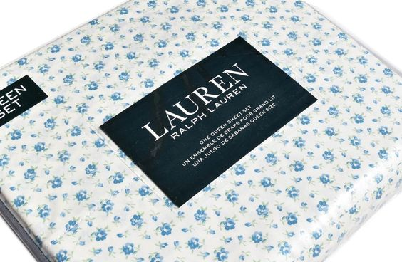 Ralph Lauren 4pc Queen Sheet Set Cottage Chic Floral French Country Roses Blue #RalphLauren #Cottage