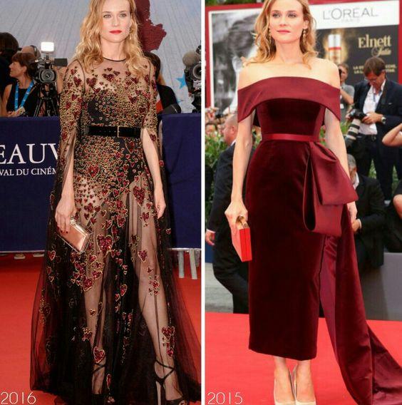 Os belos looks da Diane Kruger para os Festivais de Veneza!⭐ Um body com capa transparente com detalhes de coração e cinto, #eliesaab, deste ano. E um vestido #boss vinho, de veludo, do ano passado.✨ #glamourous #dianekruger #fashionstyle #venicefilmfestival #redcarpet