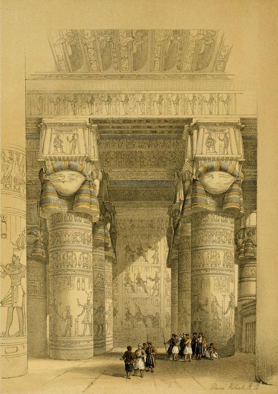 Roberts, David (1796-1864) - The Holy Land 1855, View from under the portico of the Temple of Dendera. #egypt