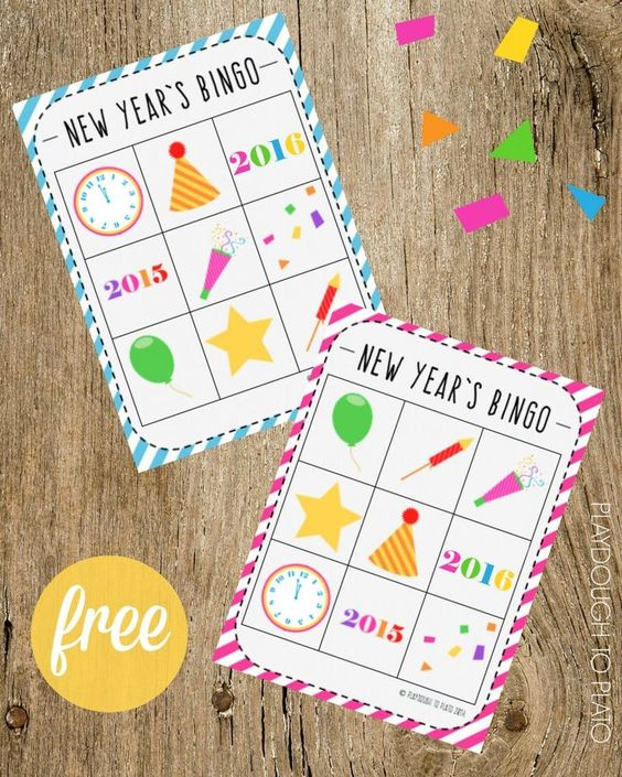 FREE New Year's BINGO. Such a fun New Year's Eve Activity for Kids!
