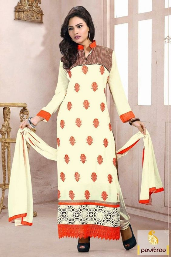 Luxurious orange and off white embroidery salwar suit is decorated with nice orange butti work beautified with stones and moti and nice printed designs on back.  #pavitraa, #salwarsuits, #anarkalisalwarsuits, #designerdresses, #partyweardresses, #salwarkameez, #lehengasuits, #bollywooddresses, #onlinesuit, #promdress