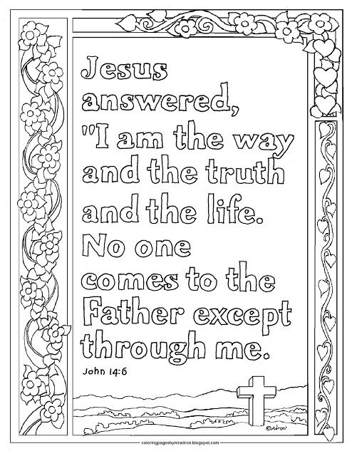 John 14 6 Print And Color Page I Am The Way Bible Coloring