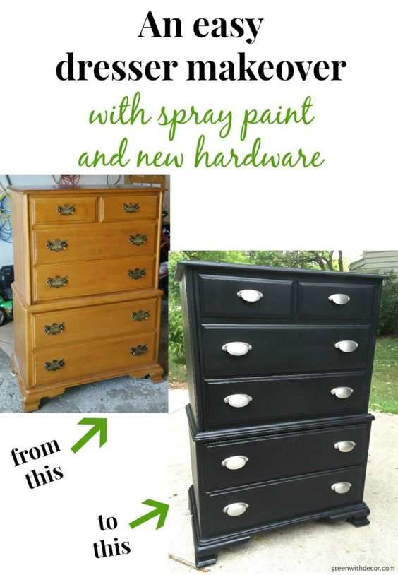 What a fun DIY dresser makeover with spray paint and new hardware. I can't believe the transformation! | Green With Decor