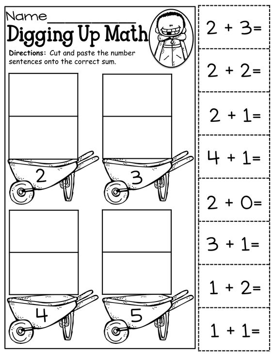 Math Worksheets Cut : Cut and paste addition up to kinderland collaborative