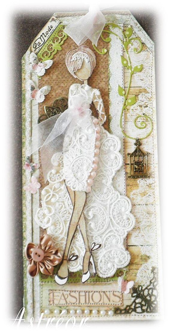 Tag using Julie Nutting doll stamps. Inspiration. Prima M.bride doll - Astréor créations - Timbre poupée prima glamour