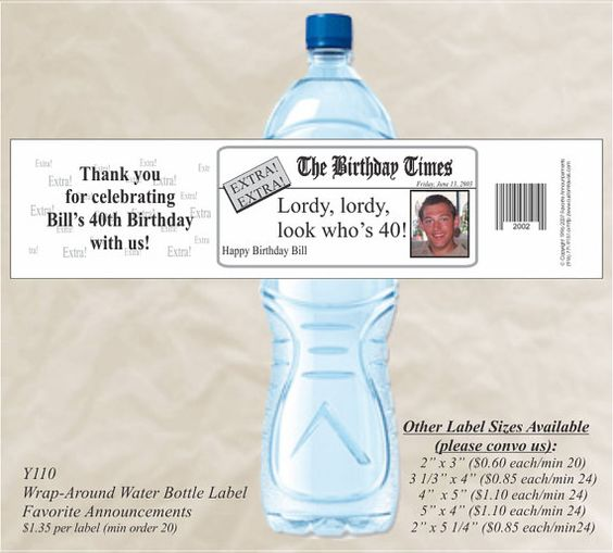 Birthday Times Photo Water Bottle Label by FavoriteAnnouncement, $27.00
