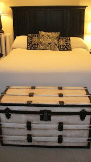 Door headboard, painted trunk spare bedroom