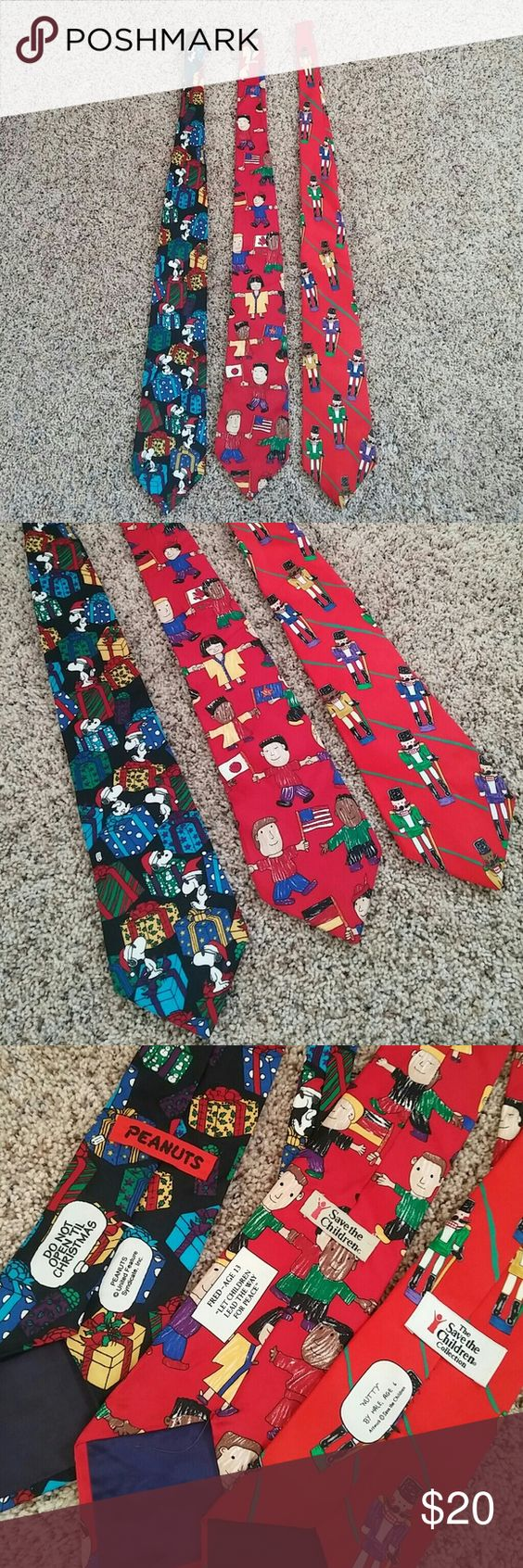 3 Tie bundle 100% Silk In very good condition 3 piece tie bundle perfect for someone that loves funky unique ties. 2 are save the children collection and one is peanuts cartoon. Accessories Ties