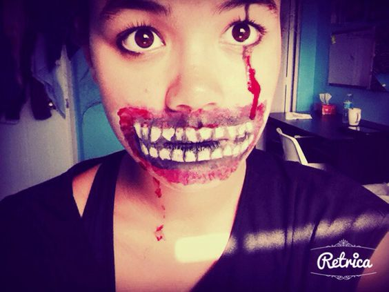 Scary mad mouth easy- with fake blood. + scar on eye.  Adding contact - white.