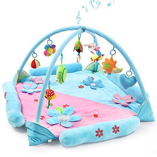 Rooya Baby Baby Play Gym Mat For 1 2 Babies Large Musical Activity Gym Playmat With Removable Crossed Arches Amp 9 Acti Baby Tummy Time Baby Play Gym Playmat
