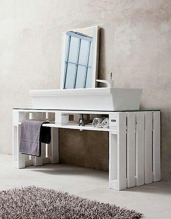 Ideal Wasch Tisch aus aufgearbeitetem Bauholz Konsole Bauholz Konsole und Waschen