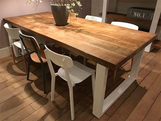 table pieds blancs plateau bois