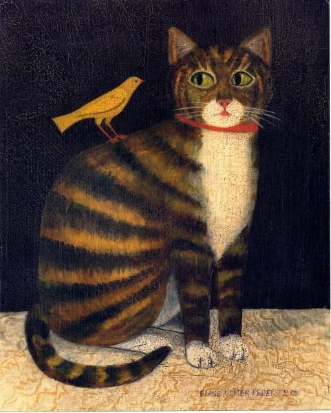 Tiger Cat with Bird | American Folk Art Painting - Diane Ulmer Pedersen: