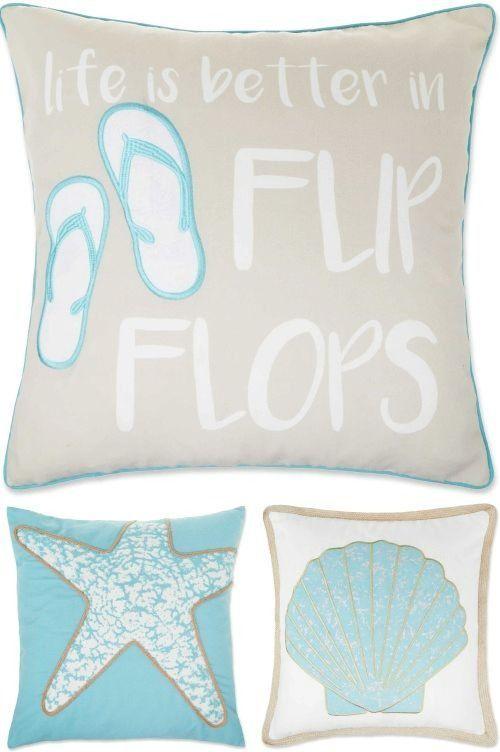 Coastal Beach Theme Throw Pillow Covers For Easy Pillow