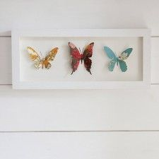 Framed Floral Trio of Butterflies