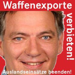 Unser Bundestagsabgeordneter Jan van Aken steht für unsere friedenspolitischen Positionen - jede exportierte Waffe kommt als Flüchtling zurück!