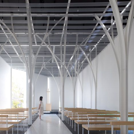 Forest Chapel by Hironaka Ogawa Creative minimal steel structural elements, Gothic arch line In a ecclesiastical space.