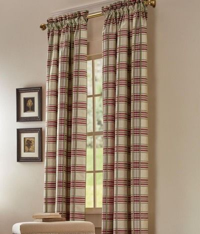 Greenwich Plaid Lined Rod Pocket Curtains by Country Curtains ...