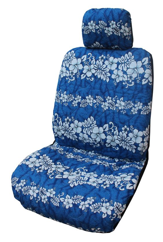 Navy Hibiscus Wave Separate Headrest Car Seat Cover