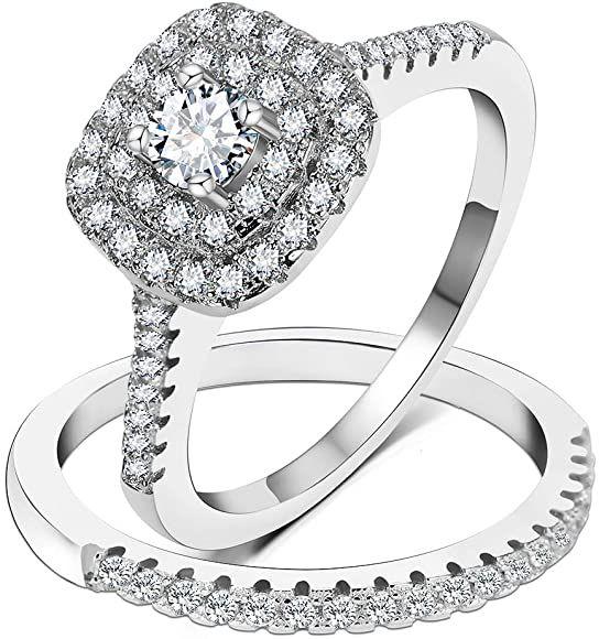 Amazon Com 3umeter 925 Sterling Silver Bridal Sets Cz Wedding Rings Shining Engagem In 2020 Cz Wedding Rings Sterling Silver Engagement Rings Engagement Ring Settings