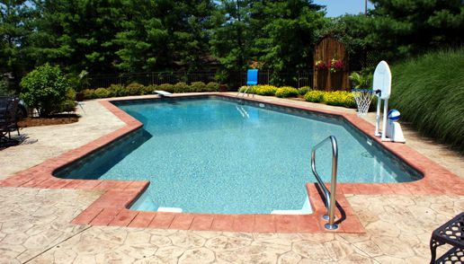 Attractive Custom Shape Swimming Pool Design By SunSpot Pool And Patio In Cincinnati  With Basketball Hoop And