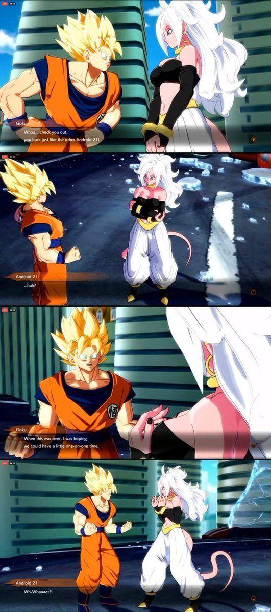 Goku Flirting With Majin Android 21 Db Fighterz Dragon Ball Art Dragon Ball Dragon Ball Super