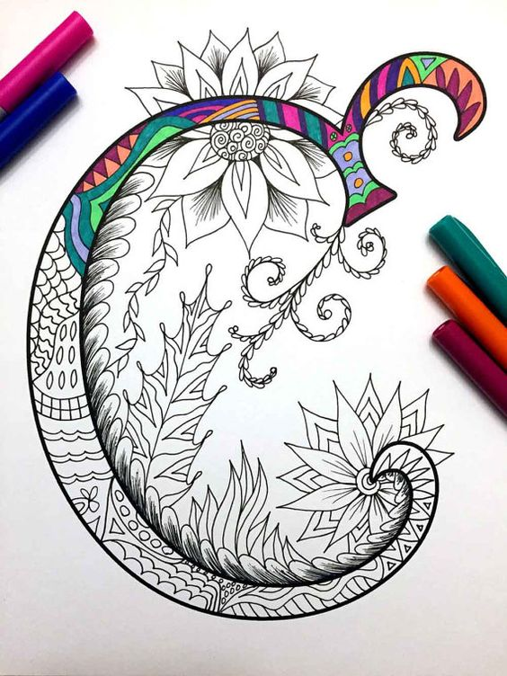 Letter C Zentangle Inspired by the font Harrington por DJPenscript