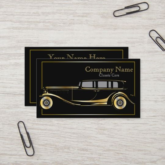 Gold Limo Classic Cars Business Card Zazzle Com In 2020