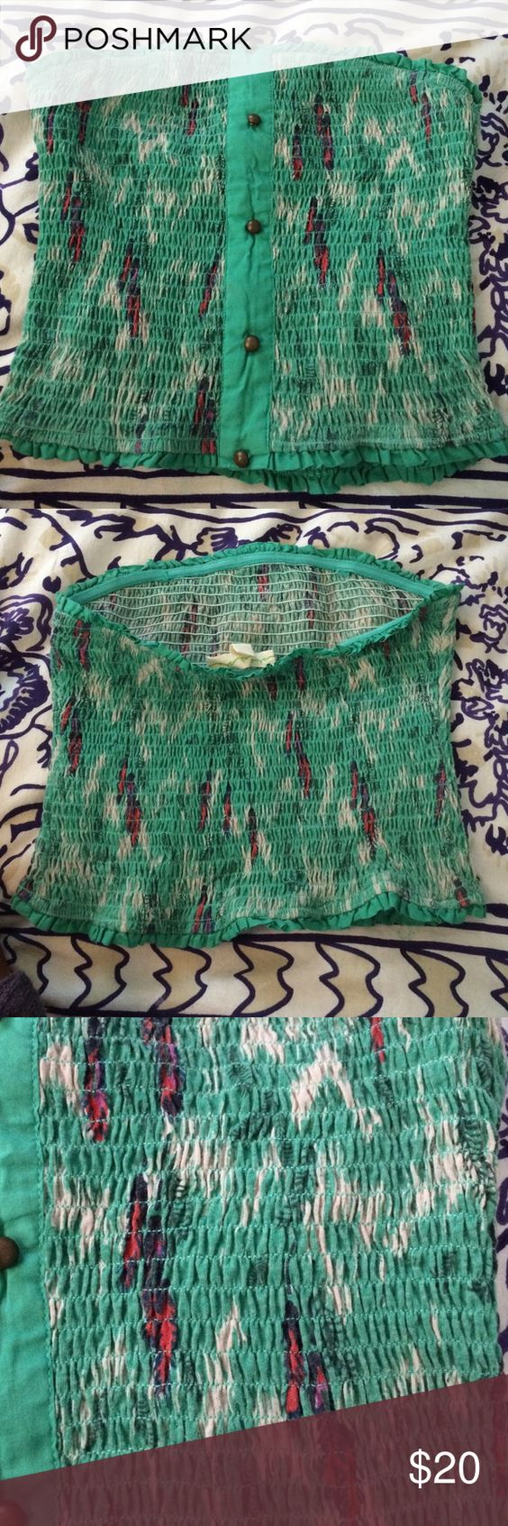 Free People tube top free people green and button detailed tube top Free People Tops