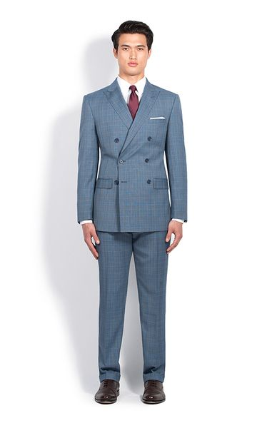 Steel Blue Glenplaid Double-Breasted Slim Fit Suit | Combatant