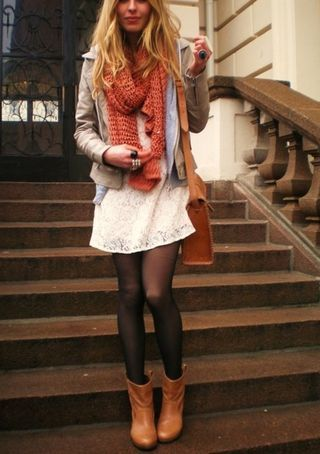 for fall: white summery dress wrapped up under lots of warm layers with tights and a bright orange scarf