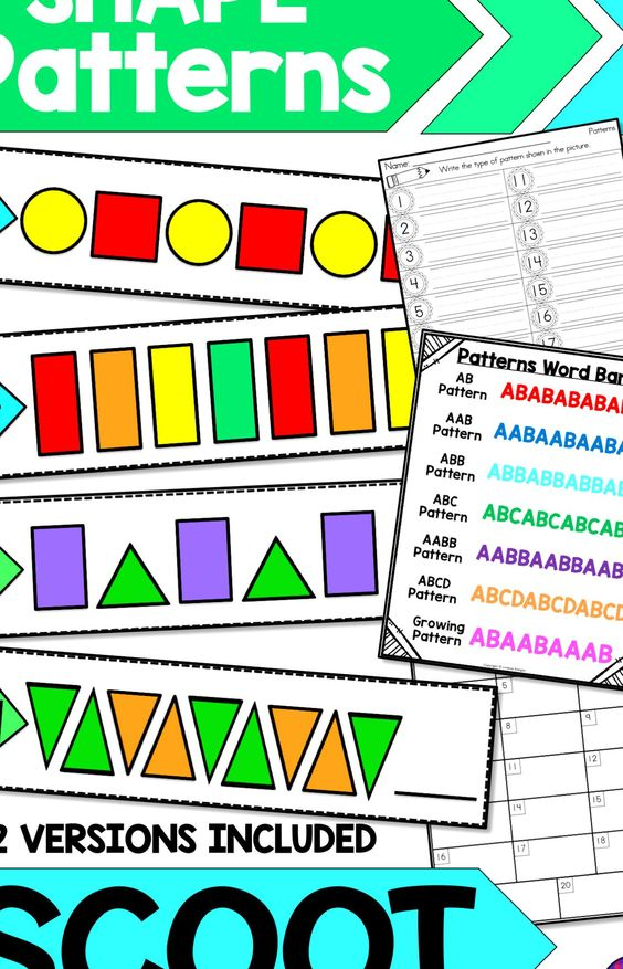 Teachers And Students Love This Fun Interactive Scoot Activity For Shape Patterns This Activity Has Students Practicing Re In 2020 Abc Patterns Aabb Patterns Word Bank
